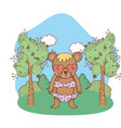 cute little bear with heart sunglasses in the camp vector image