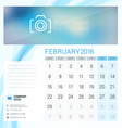 Desk Calendar for 2016 Year February Stationery vector image vector image