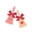 Elegant wedding bells with hearts over white vector image vector image