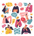emoticons and stickers used in conversations talk vector image
