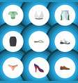 flat icon dress set of stylish apparel brasserie vector image vector image