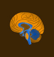 flat shading style icon brain vector image vector image