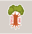 forest save tagline sticker cartoon vector image vector image