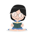 girl sit on floor and reading book vector image vector image