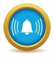 Gold alarm clock icon vector image vector image