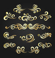 golden decorative curly shapes set vector image vector image