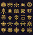 golden snowflakes winter frosted snowflake gold vector image vector image