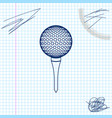 golf ball on tee line sketch icon isolated on vector image vector image