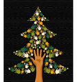 Green Christmas Tree hands vector image vector image