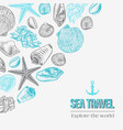 hand drawn set with seashells starfish and coral vector image vector image