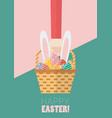 hand holding a basket full of easter eggs and vector image vector image