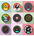 high speed icons set flat style vector image