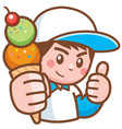 ice cream seller vector image vector image