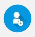 icon add user add person or add friend on blue