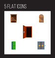 icon flat approach set of gate western wooden vector image vector image
