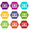 laptop with business graph icon set color vector image