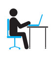 man working at computer silhouette icon vector image vector image
