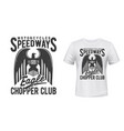 motorcycle racing sport t-shirt print with eagle vector image vector image