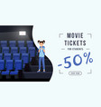 movie tickets sale web banner template schoolkid vector image vector image
