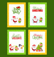 new year cards set with santa claus and helpers vector image