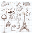 paris set on note book page vector image vector image