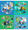 Professional Workplace Isometric 4 Icons Square vector image vector image