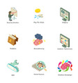 search optimization icons set isometric style vector image