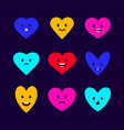 set of colorful hearts emoticons vector image
