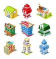 Set of the Isometric City Buildings and Shops vector image