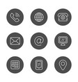 set round icons contact us vector image vector image