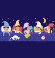 sleepy kids night dreams children sleep in bed vector image