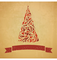 template of christmas card with a fir tree vector image