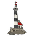 the old black and white lighthouse vector image