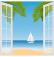 tropical beach palm trees and ship vector image vector image
