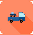truck flat long shadow icon vector image vector image