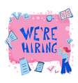 we are hiring concept with girls and text