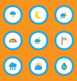 weather icons flat style set with lightning frost vector image vector image