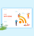 wi-fi social media networking concept landing page vector image