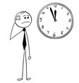 worried businessman looking at wall clock vector image