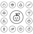 set of 12 editable kitchenware outline icons vector image