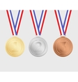 Gold silver and bronze medals with ribbons vector image