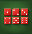 set of red dice vector image
