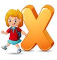 alphabet x with a school girl walk