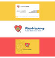 beautiful heart logo and business card vertical vector image vector image