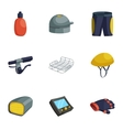 Biking accessories icons set cartoon style vector image vector image