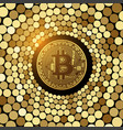 bitcoin golden coin on glitter mosaic background vector image vector image