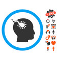 brain parasite icon with lovely bonus vector image