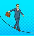 businessman balancing on rope pop art vector image vector image