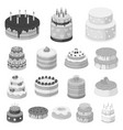 cake and dessert monochrome icons in set vector image vector image