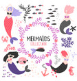 cartoon character mermaids and fishes vector image